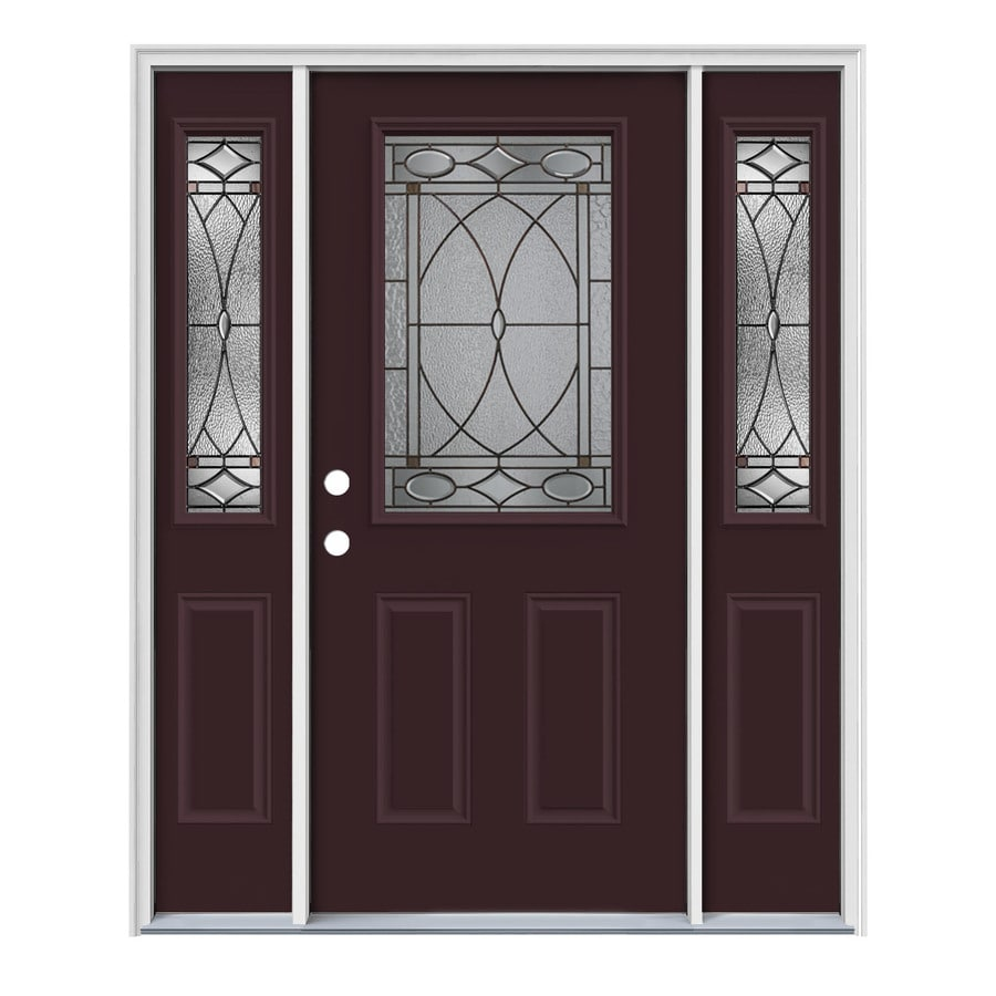 JELD-WEN Hutton Decorative Glass Right-Hand Inswing Currant Painted Steel Entry Door with Insulating Core (Common: 64-in x 80-in; Actual: 64.5-in x 81.75-in)