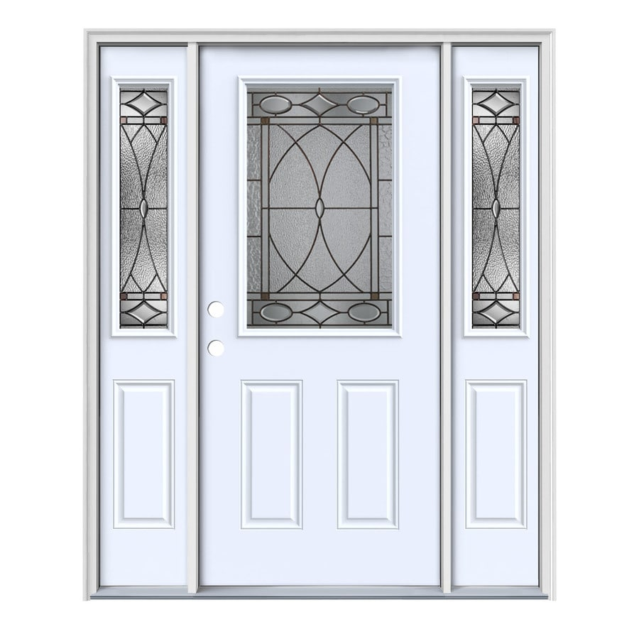 JELD-WEN Hutton Decorative Glass Right-Hand Inswing Primed Steel Painted Entry Door (Common: 64-in x 80-in; Actual: 64.5-in x 81.75-in)