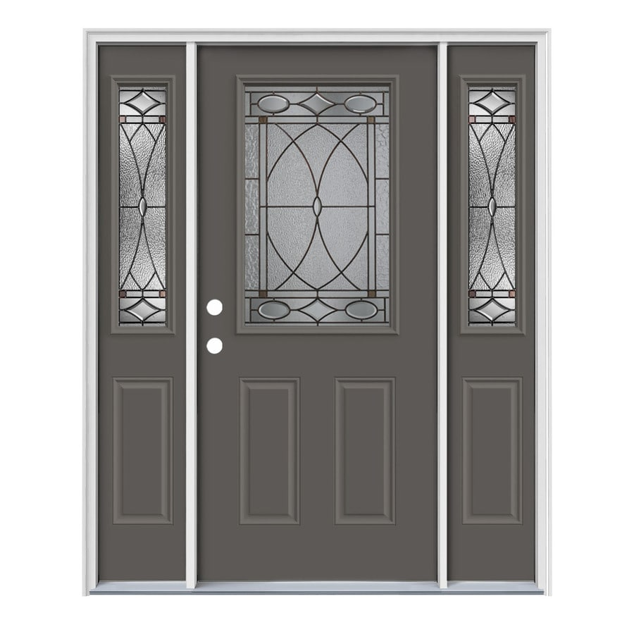 JELD-WEN Hutton Decorative Glass Right-Hand Inswing Timber Gray Painted Steel Entry Door with Insulating Core (Common: 64-in x 80-in; Actual: 64.5-in x 81.75-in)