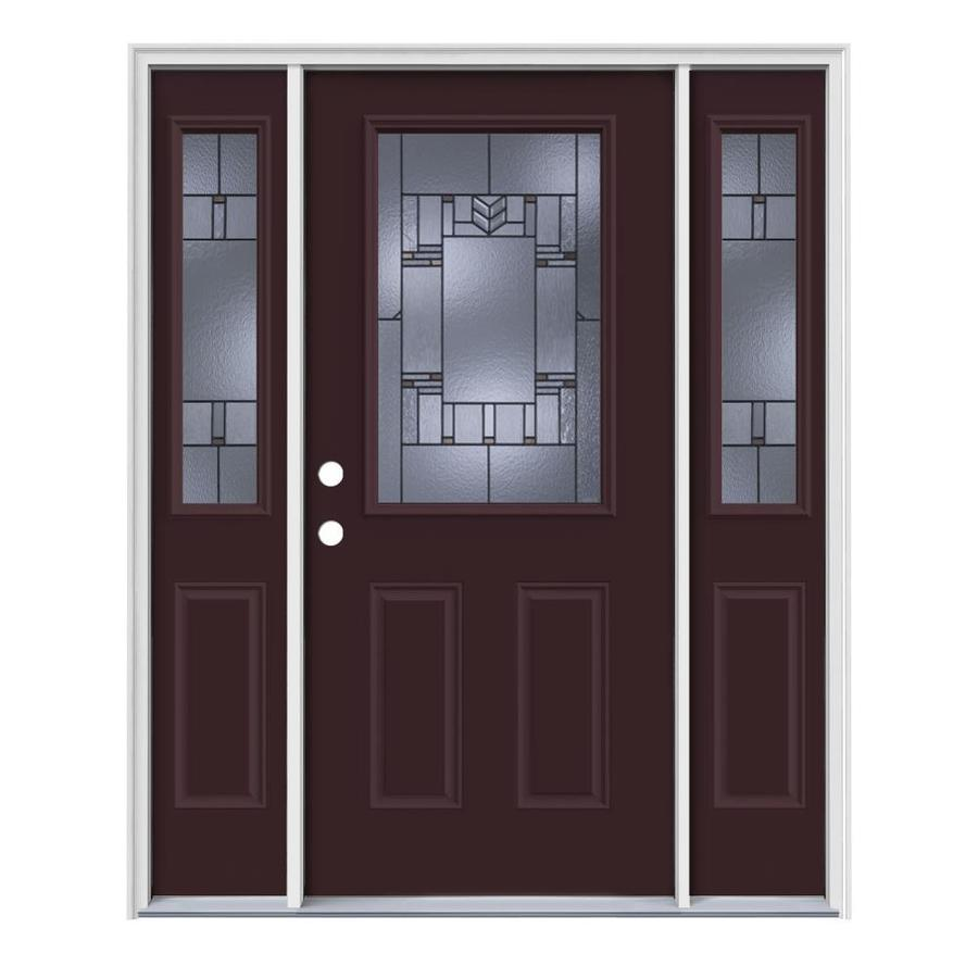 JELD-WEN Leighton Decorative Glass Right-Hand Inswing Currant Painted Steel Entry Door with Insulating Core (Common: 64-in x 80-in; Actual: 64.5-in x 81.75-in)