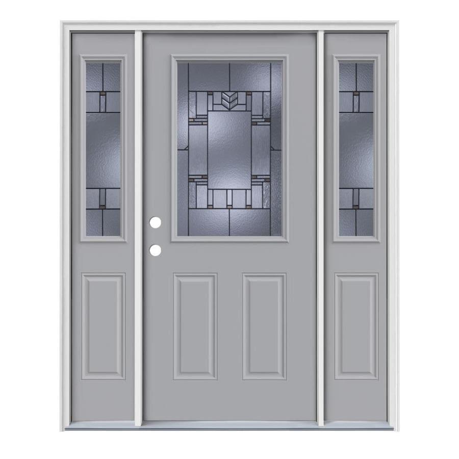 JELD-WEN Leighton Decorative Glass Right-Hand Inswing Infinity Grey Steel Painted Entry Door (Common: 64-in x 80-in; Actual: 64.5-in x 81.75-in)