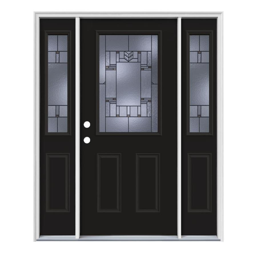 JELD-WEN Leighton Right-Hand Inswing Peppercorn Painted Steel Prehung Entry Door with Sidelights and Insulating Core (Common: 64-in x 80-in; Actual: 64.5-in x 81.75-in)