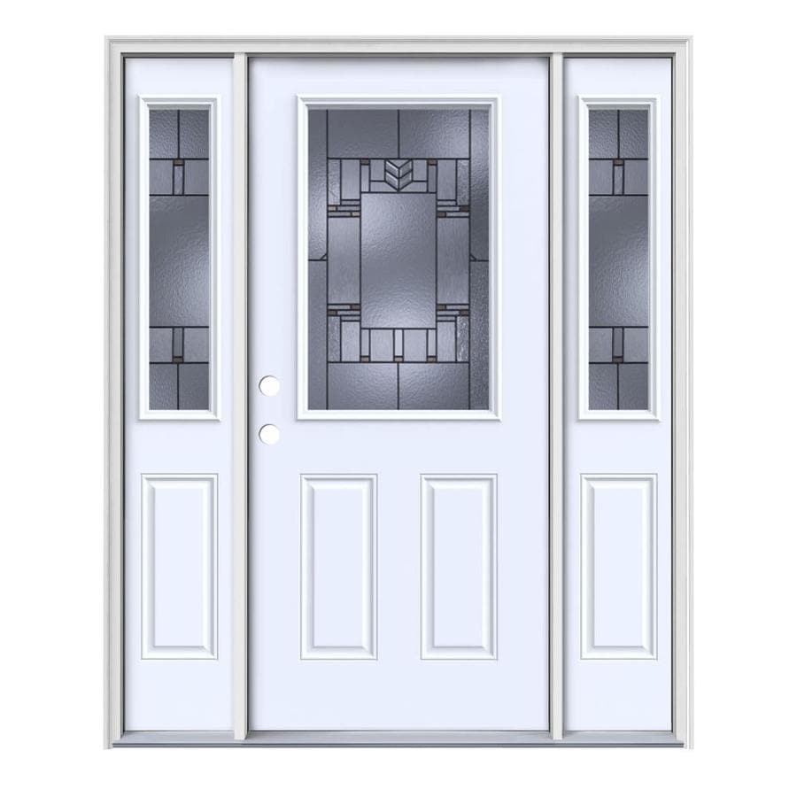 JELD-WEN Leighton Decorative Glass Right-Hand Inswing Primed Steel Painted Entry Door (Common: 64-in x 80-in; Actual: 64.5-in x 81.75-in)