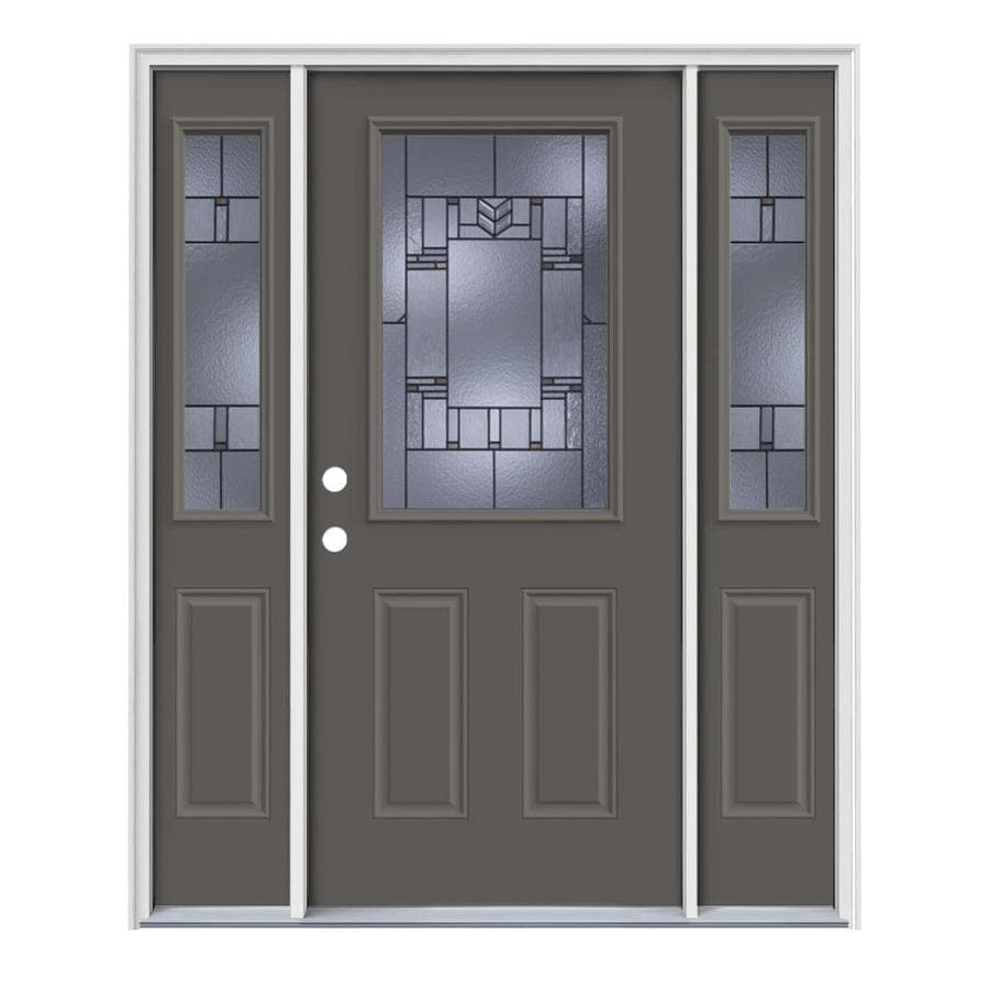 JELD-WEN Leighton Decorative Glass Right-Hand Inswing Timber Gray Painted Steel Entry Door with Insulating Core (Common: 64-in x 80-in; Actual: 64.5-in x 81.75-in)