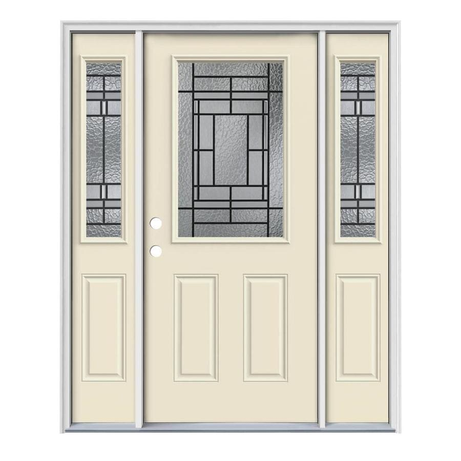 JELD-WEN Pembrook Decorative Glass Right-Hand Inswing Bisque Painted Steel Entry Door with Insulating Core (Common: 64-in x 80-in; Actual: 64.5-in x 81.75-in)