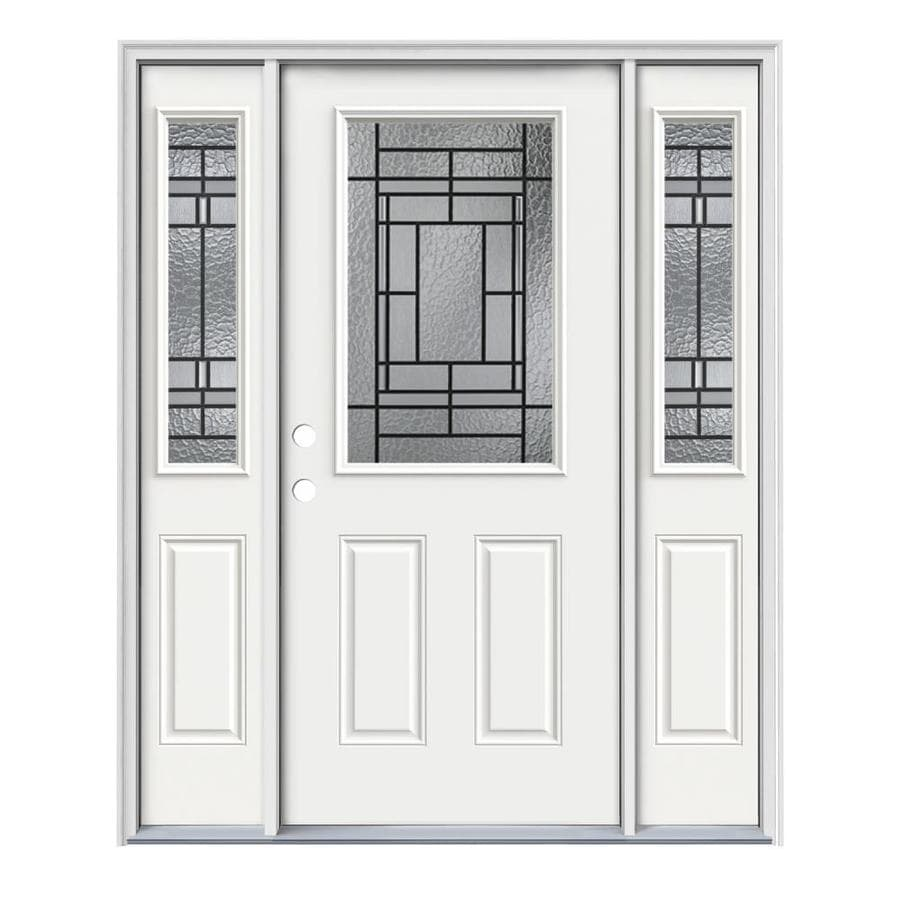JELD-WEN Pembrook 2-Panel Insulating Core Half Lite Right-Hand Inswing Modern White Steel Painted Prehung Entry Door (Common: 64-in x 80-in; Actual: 64.5-in x 81.75-in)