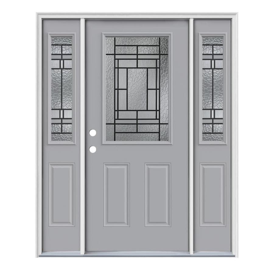 JELD-WEN Pembrook 2-Panel Insulating Core Half Lite Right-Hand Inswing Infinity Grey Steel Painted Prehung Entry Door (Common: 64-in x 80-in; Actual: 64.5-in x 81.75-in)