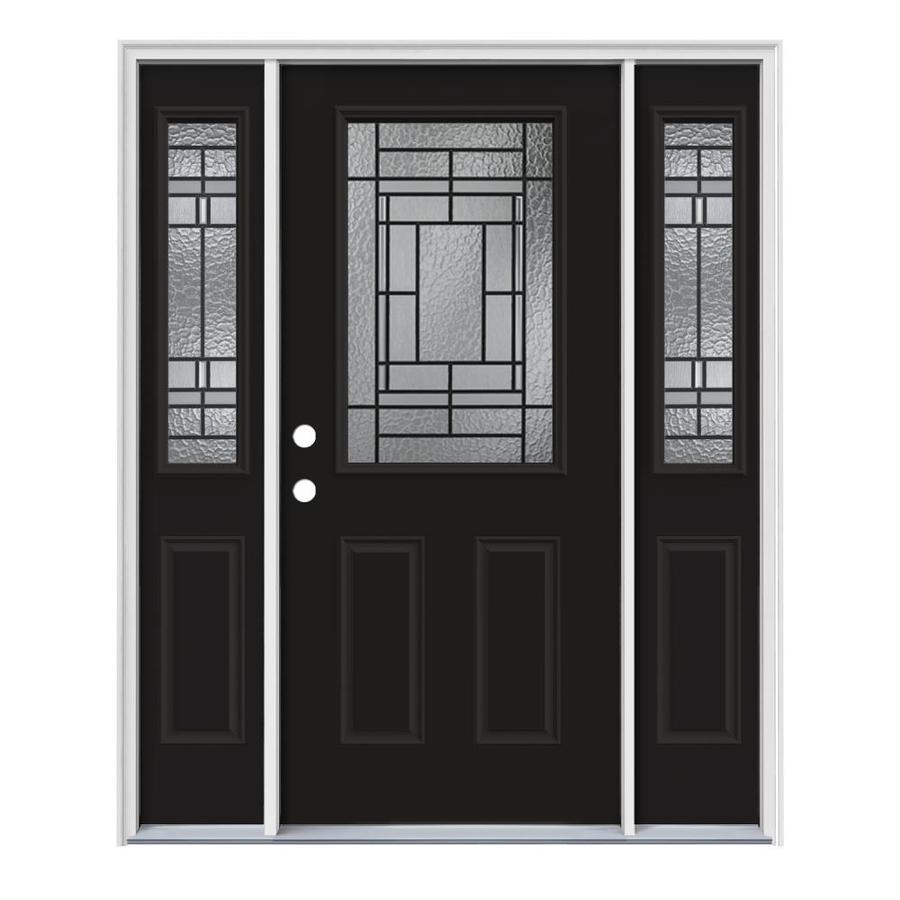 JELD-WEN Pembrook Decorative Glass Right-Hand Inswing Peppercorn Painted Steel Entry Door with Insulating Core (Common: 64-in x 80-in; Actual: 64.5-in x 81.75-in)