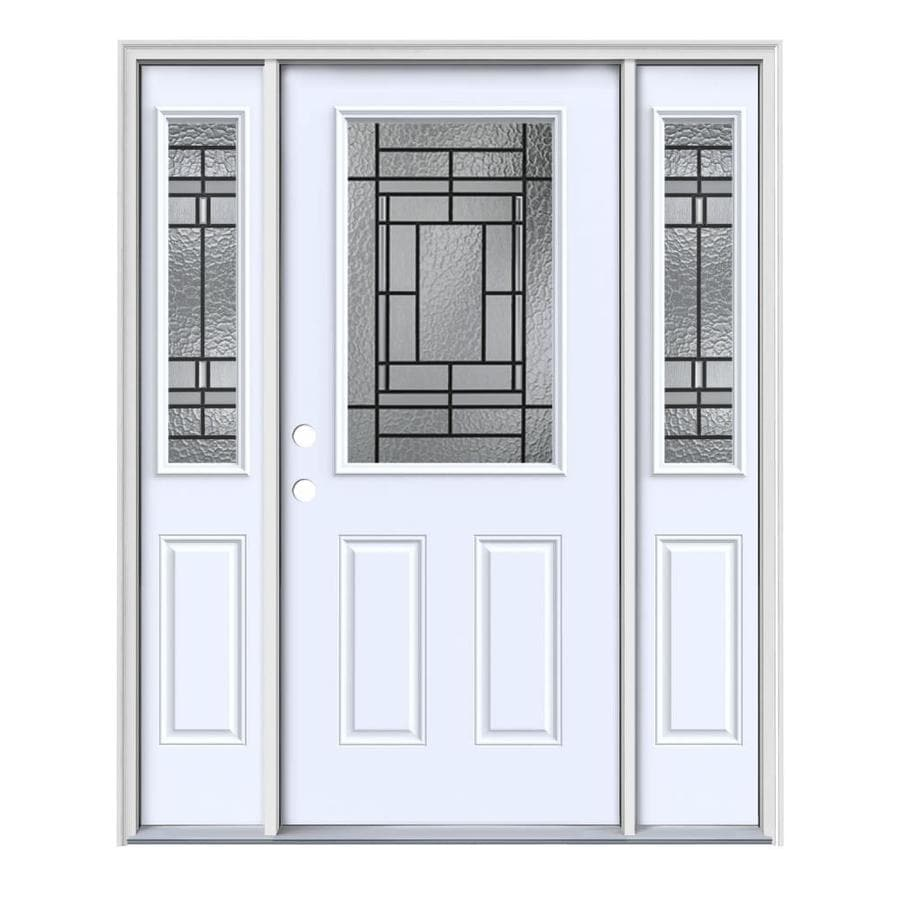 JELD-WEN Pembrook Decorative Glass Right-Hand Inswing Primed Painted Steel Entry Door with Insulating Core (Common: 64-in x 80-in; Actual: 64.5-in x 81.75-in)