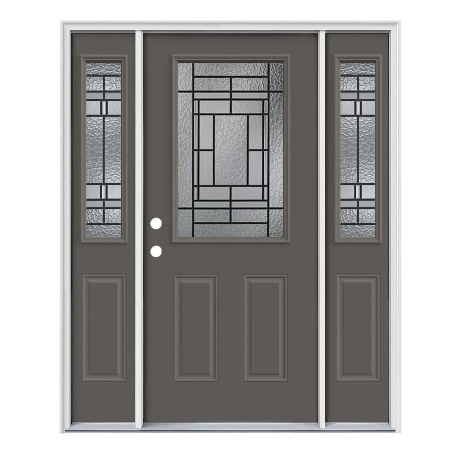JELD-WEN Pembrook Decorative Glass Right-Hand Inswing Timber Gray Painted Steel Entry Door with Insulating Core (Common: 64-in x 80-in; Actual: 64.5-in x 81.75-in)