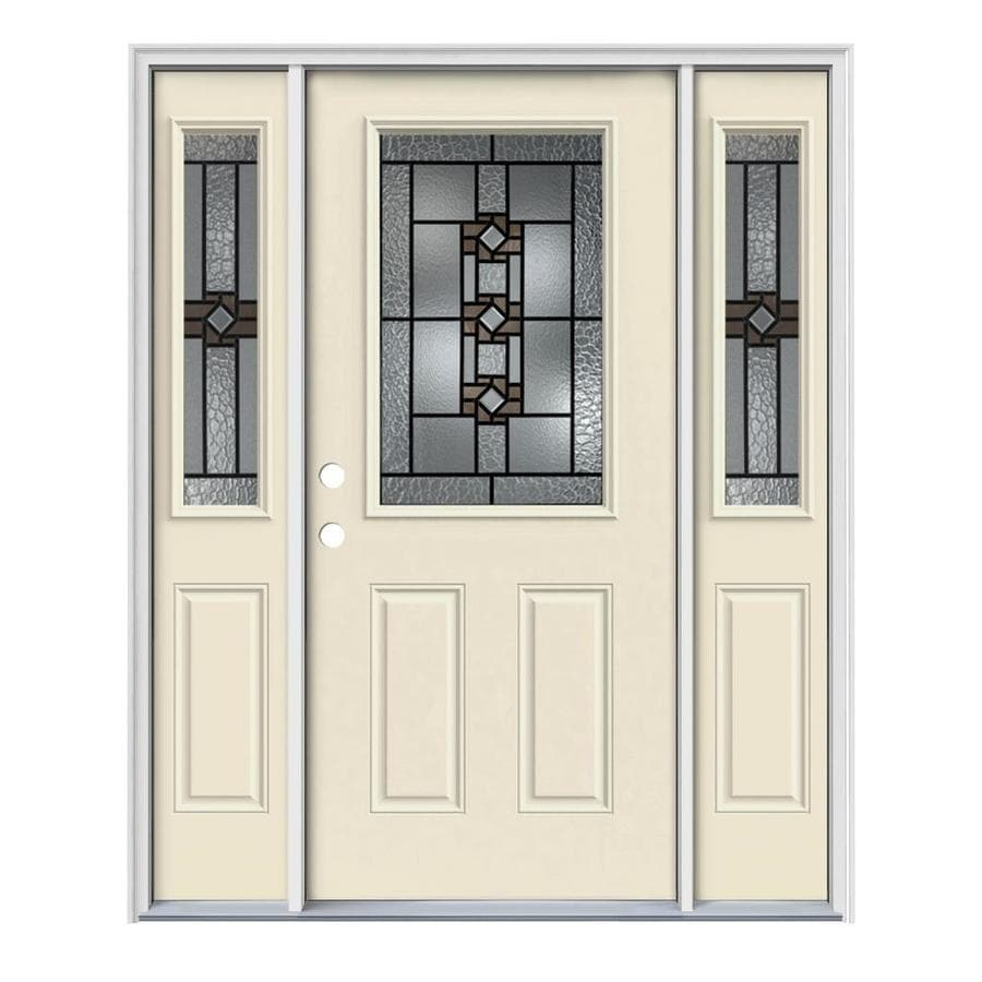 JELD-WEN Sonora Decorative Glass Right-Hand Inswing Bisque Steel Painted Entry Door (Common: 64-in x 80-in; Actual: 64.5-in x 81.75-in)