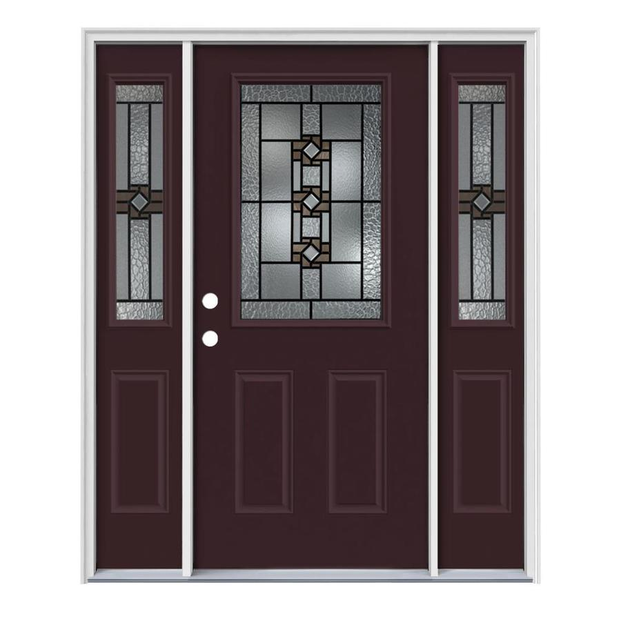 JELD-WEN Sonora Decorative Glass Right-Hand Inswing Currant Painted Steel Entry Door with Insulating Core (Common: 64-in x 80-in; Actual: 64.5-in x 81.75-in)