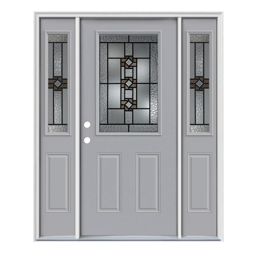 JELD-WEN Sonora Decorative Glass Right-Hand Inswing Infinity Grey Painted Steel Entry Door with Insulating Core (Common: 64-in x 80-in; Actual: 64.5-in x 81.75-in)