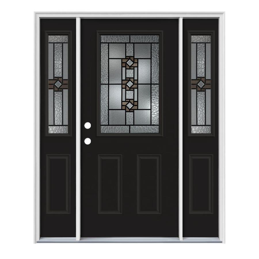 JELD-WEN Sonora Decorative Glass Right-Hand Inswing Peppercorn Painted Steel Entry Door with Insulating Core (Common: 64-in x 80-in; Actual: 64.5-in x 81.75-in)
