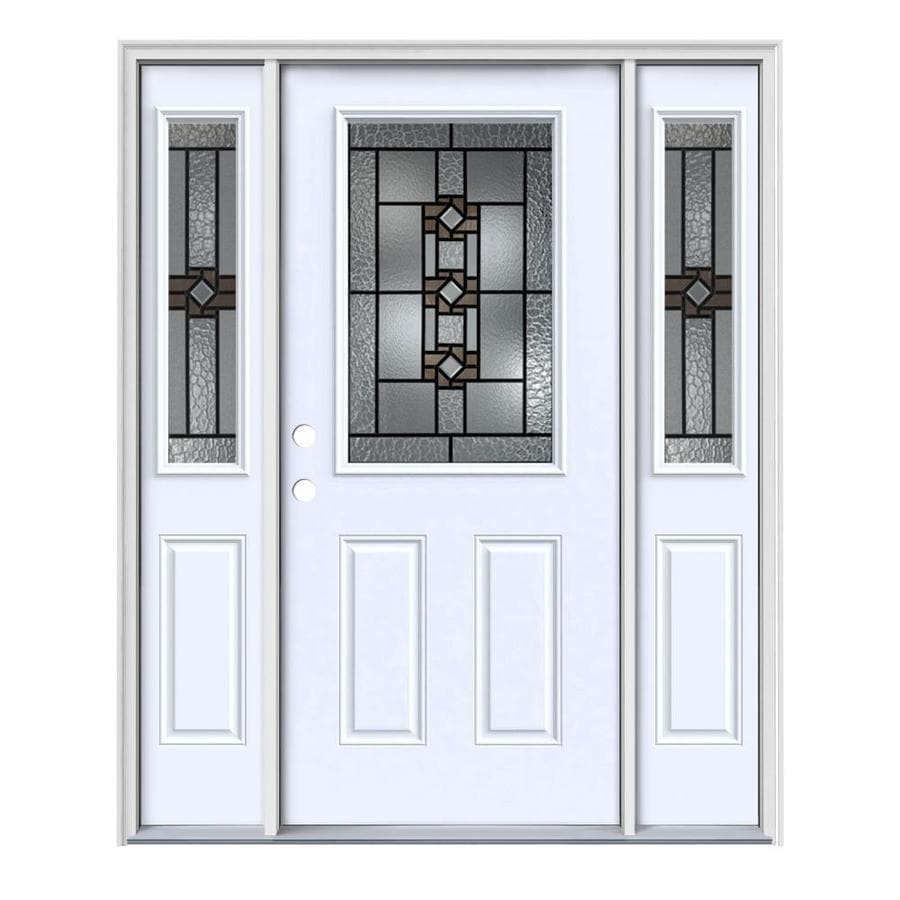 JELD-WEN Sonora Decorative Glass Right-Hand Inswing Primed Painted Steel Entry Door with Insulating Core (Common: 64-in x 80-in; Actual: 64.5-in x 81.75-in)