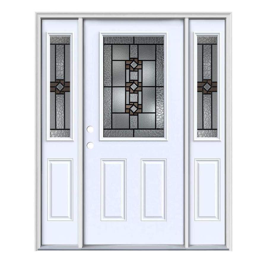 JELD-WEN Sonora 2-panel Insulating Core Half Lite Right-Hand Inswing Primed Steel Painted Prehung Entry Door (Common: 64-in x 80-in; Actual: 64.5-in x 81.75-in)