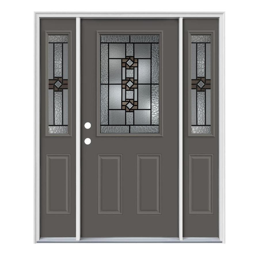 JELD-WEN Sonora Decorative Glass Right-Hand Inswing Timber Gray Steel Painted Entry Door (Common: 64-in x 80-in; Actual: 64.5-in x 81.75-in)