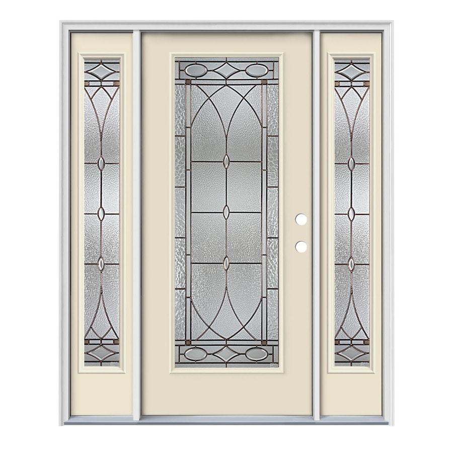 JELD-WEN Hutton Decorative Glass Left-Hand Inswing Bisque Painted Steel Prehung Entry Door with Insulating Core (Common: 64-in x 80-in; Actual: 64.5-in x 81.75-in)