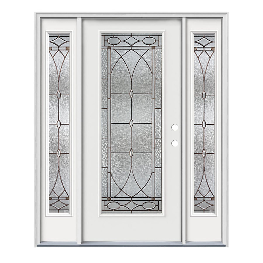 JELD-WEN Hutton Decorative Glass Left-Hand Inswing Modern White Painted Steel Prehung Entry Door with Insulating Core (Common: 64-in x 80-in; Actual: 64.5000-in x 81.7500-in)