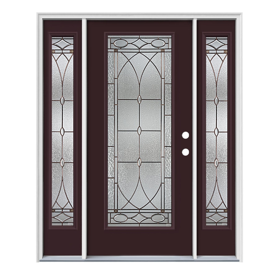 JELD-WEN Hutton Decorative Glass Left-Hand Inswing Currant Steel Painted Entry Door (Common: 64-in x 80-in; Actual: 64.5-in x 81.75-in)