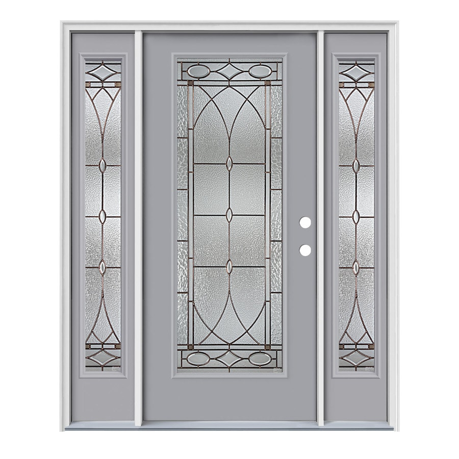 JELD-WEN Hutton Decorative Glass Left-Hand Inswing Infinity Grey Steel Painted Entry Door (Common: 64-in x 80-in; Actual: 64.5000-in x 81.7500-in)