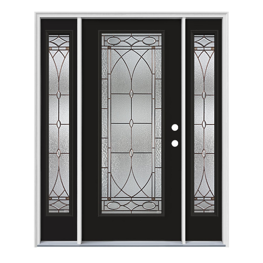 JELD-WEN Hutton Flush Insulating Core Full Lite Left-Hand Inswing Peppercorn Steel Painted Prehung Entry Door (Common: 64-in x 80-in; Actual: 64.5-in x 81.75-in)