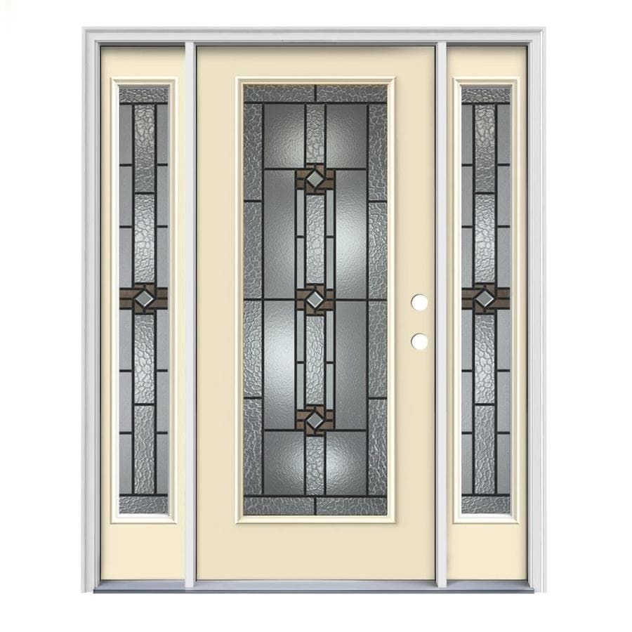 JELD-WEN Sonora Decorative Glass Left-Hand Inswing Bisque Painted Steel Prehung Entry Door with Insulating Core (Common: 64-in x 80-in; Actual: 64.5000-in x 81.7500-in)