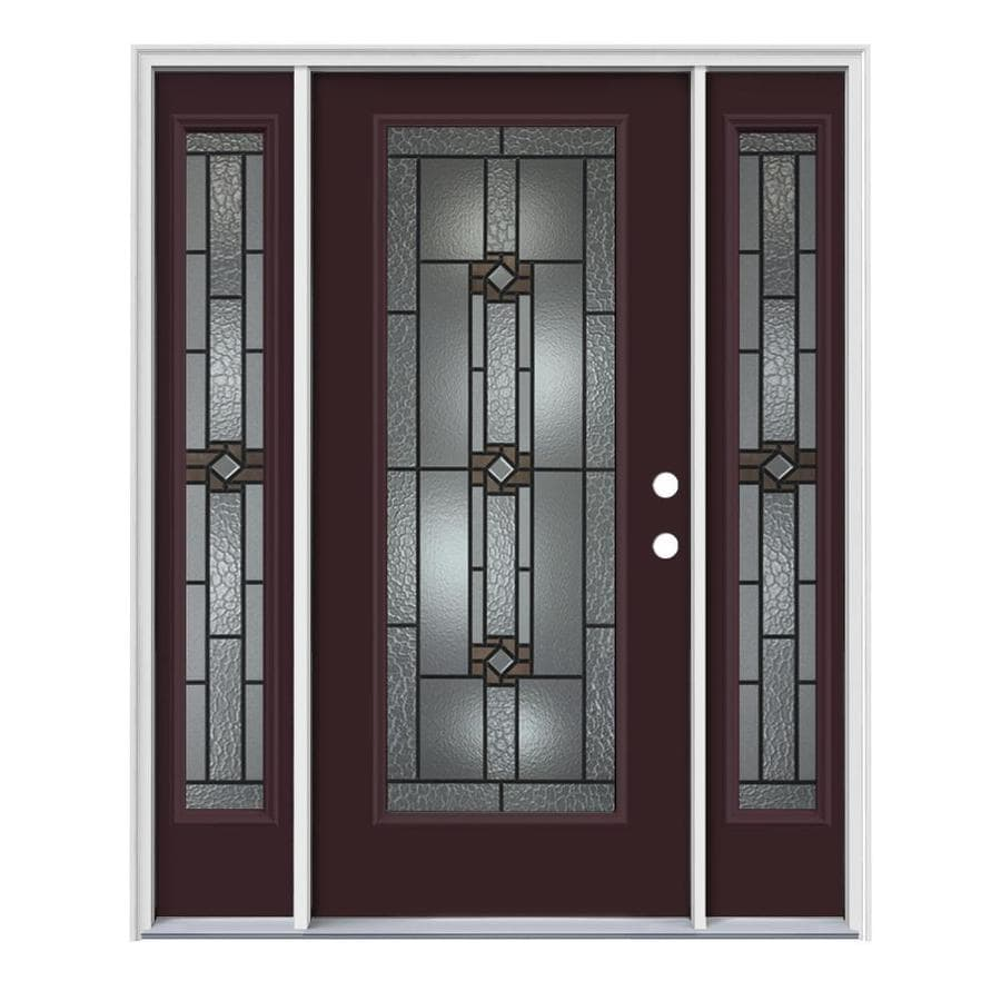 JELD-WEN Sonora Left-Hand Inswing Currant Painted Steel Prehung Entry Door with Sidelights and Insulating Core (Common: 64-in x 80-in; Actual: 64.5-in x 81.75-in)