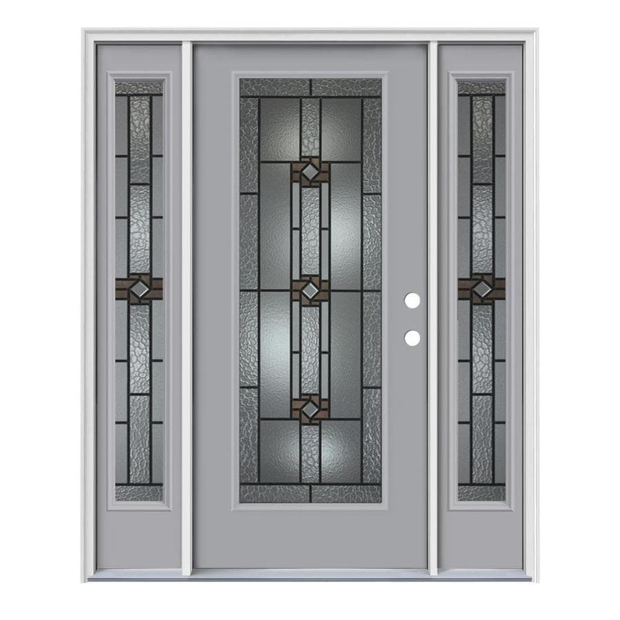 Shop Jeld Wen Sonora Decorative Glass Left Hand Inswing Infinity Grey Steel Painted Entry Door