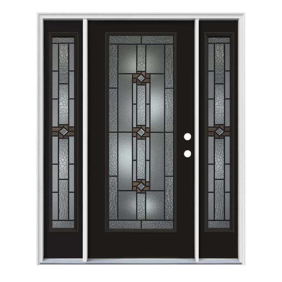 JELD-WEN Sonora Decorative Glass Left-Hand Inswing Peppercorn Painted Steel Prehung Entry Door with Insulating Core (Common: 64-in x 80-in; Actual: 64.5000-in x 81.7500-in)