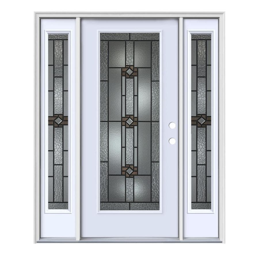 JELD-WEN Sonora Flush Insulating Core Full Lite Left-Hand Inswing Primed White Steel Painted Prehung Entry Door (Common: 64-in x 80-in; Actual: 64.5-in x 81.75-in)