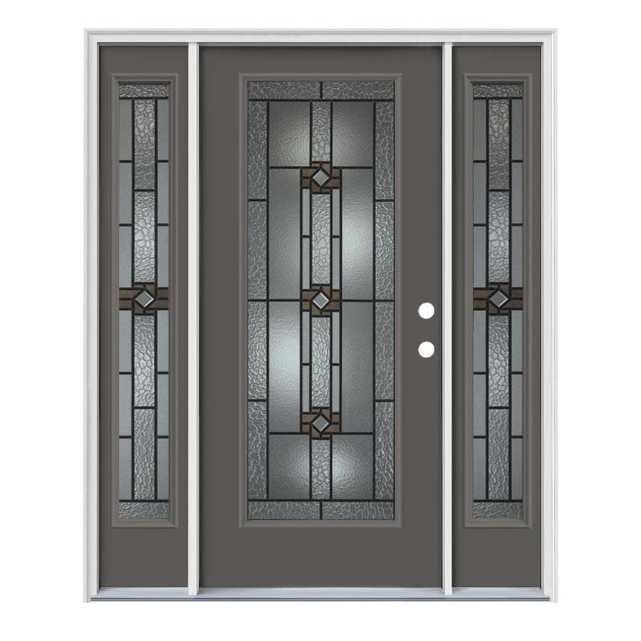 JELD-WEN Sonora Decorative Glass Left-Hand Inswing Timber Gray Painted Steel Prehung Entry Door with Insulating Core (Common: 64-in x 80-in; Actual: 64.5-in x 81.75-in)