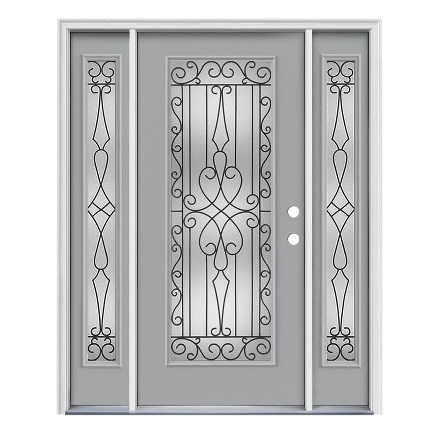 JELD-WEN Wyngate Decorative Glass Left-Hand Inswing Infinity Grey Painted Steel Prehung Entry Door with Insulating Core (Common: 64-in x 80-in; Actual: 64.5000-in x 81.7500-in)