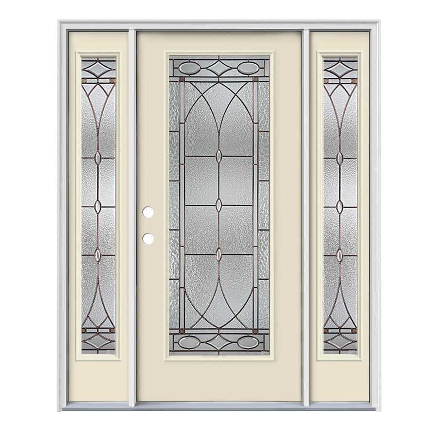 JELD-WEN Hutton Decorative Glass Right-Hand Inswing Bisque Painted Steel Prehung Entry Door with Insulating Core (Common: 64-in x 80-in; Actual: 64.5-in x 81.75-in)