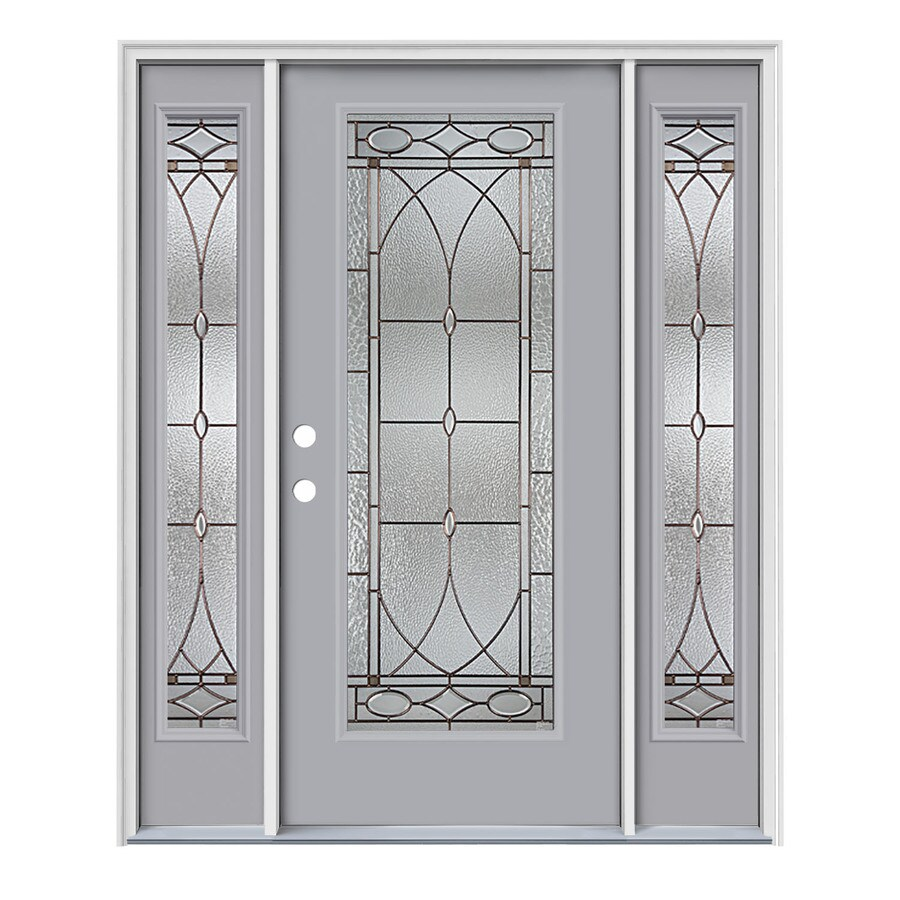 JELD-WEN Hutton Flush Insulating Core Full Lite Right-Hand Inswing Infinity Grey Steel Painted Prehung Entry Door (Common: 64-in x 80-in; Actual: 64.5-in x 81.75-in)
