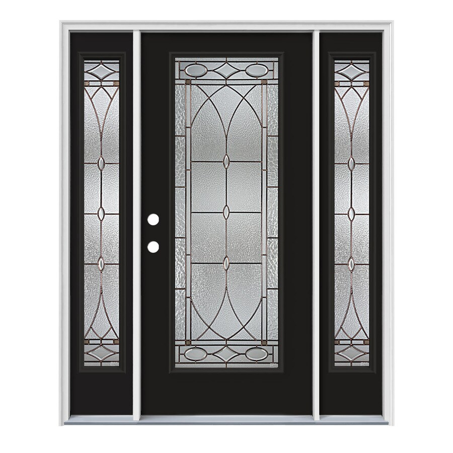 JELD-WEN Hutton Decorative Glass Right-Hand Inswing Peppercorn Painted Steel Prehung Entry Door with Insulating Core (Common: 64-in x 80-in; Actual: 64.5-in x 81.75-in)