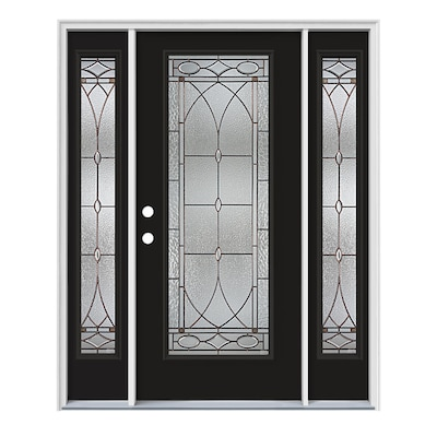 Black Front Doors At Lowes Com Stylish back door featuring innovative reflective glass neatly enclosed between narrow white polished frames. black front doors at lowes com