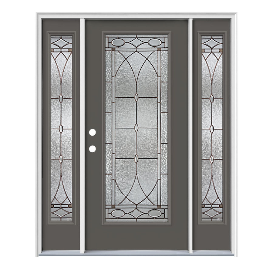 JELD-WEN Hutton Decorative Glass Right-Hand Inswing Timber Gray Painted Steel Prehung Entry Door with Insulating Core (Common: 64-in x 80-in; Actual: 64.5000-in x 81.7500-in)