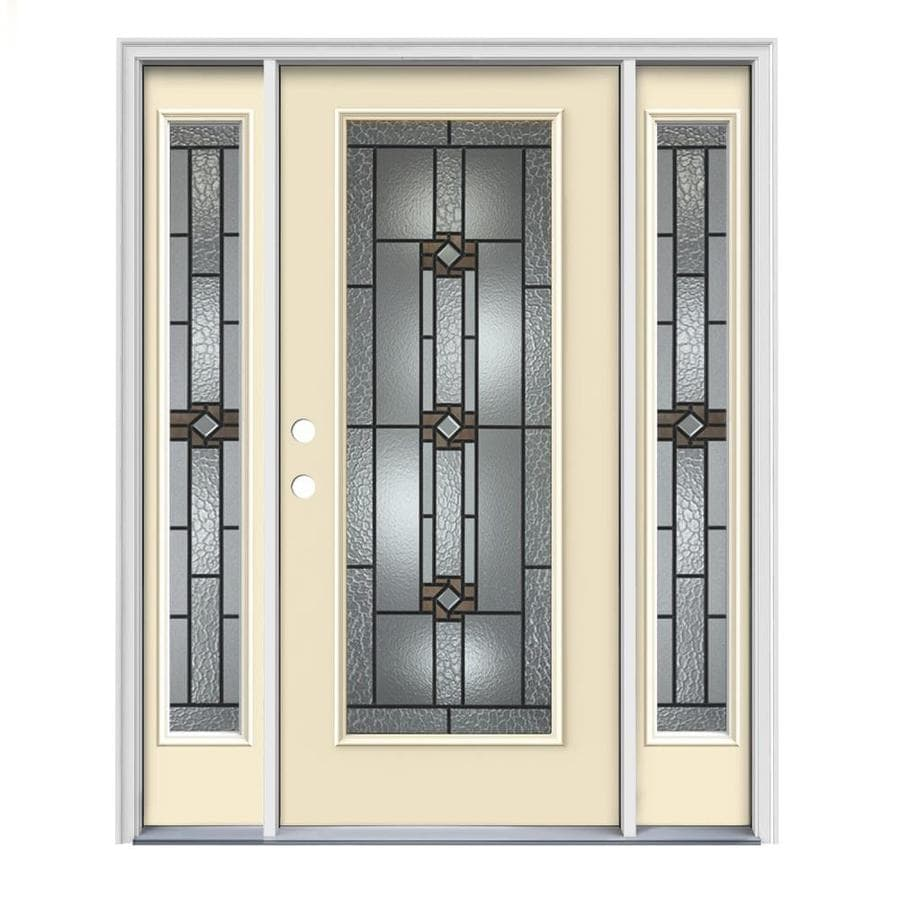 JELD-WEN Sonora Flush Insulating Core Full Lite Right-Hand Inswing Bisque Steel Painted Prehung Entry Door (Common: 64-in x 80-in; Actual: 64.5-in x 81.75-in)