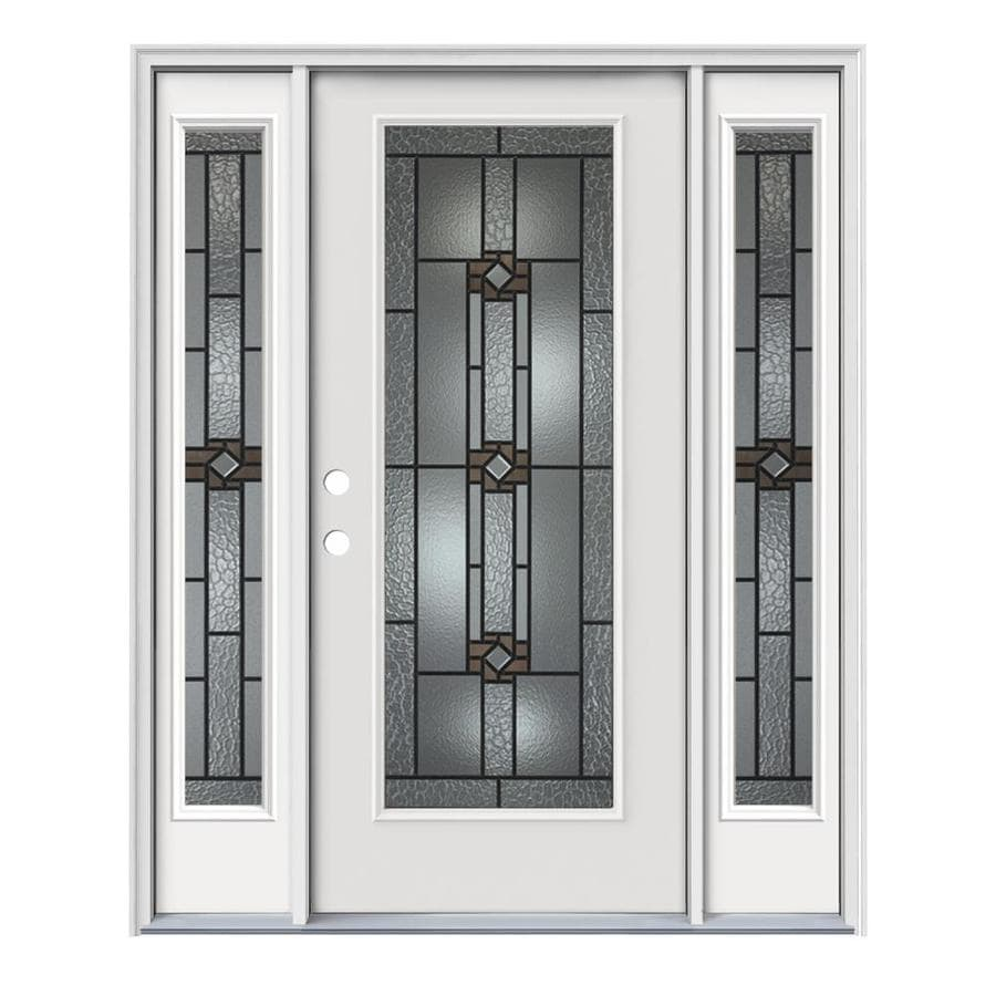 JELD-WEN Sonora Decorative Glass Right-Hand Inswing Modern White Painted Steel Prehung Entry Door with Insulating Core (Common: 64-in x 80-in; Actual: 64.5-in x 81.75-in)