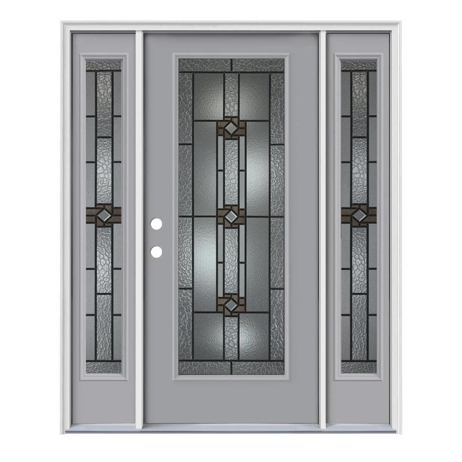 JELD-WEN Sonora Decorative Glass Right-Hand Inswing Infinity Grey Painted Steel Prehung Entry Door with Insulating Core (Common: 64-in x 80-in; Actual: 64.5000-in x 81.7500-in)