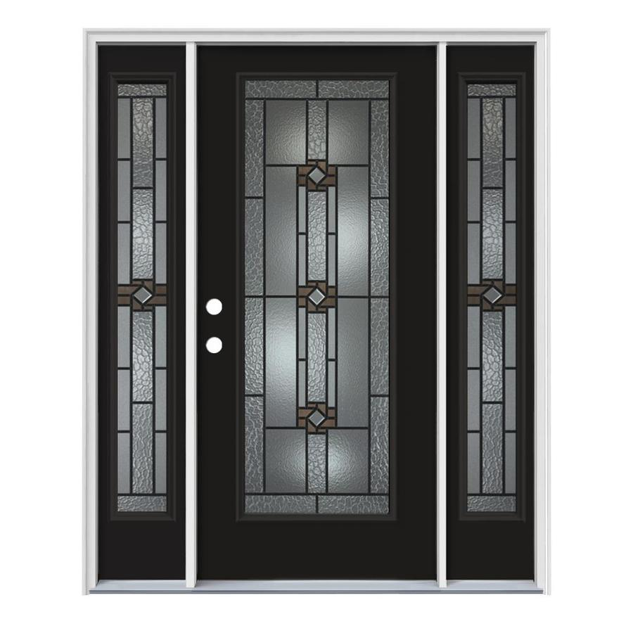 JELD-WEN Sonora Decorative Glass Right-Hand Inswing Peppercorn Steel Painted Entry Door (Common: 64-in x 80-in; Actual: 64.5-in x 81.75-in)