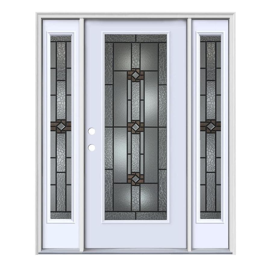 JELD-WEN Sonora Decorative Glass Right-Hand Inswing Primed Steel Painted Entry Door (Common: 64-in x 80-in; Actual: 64.5-in x 81.75-in)
