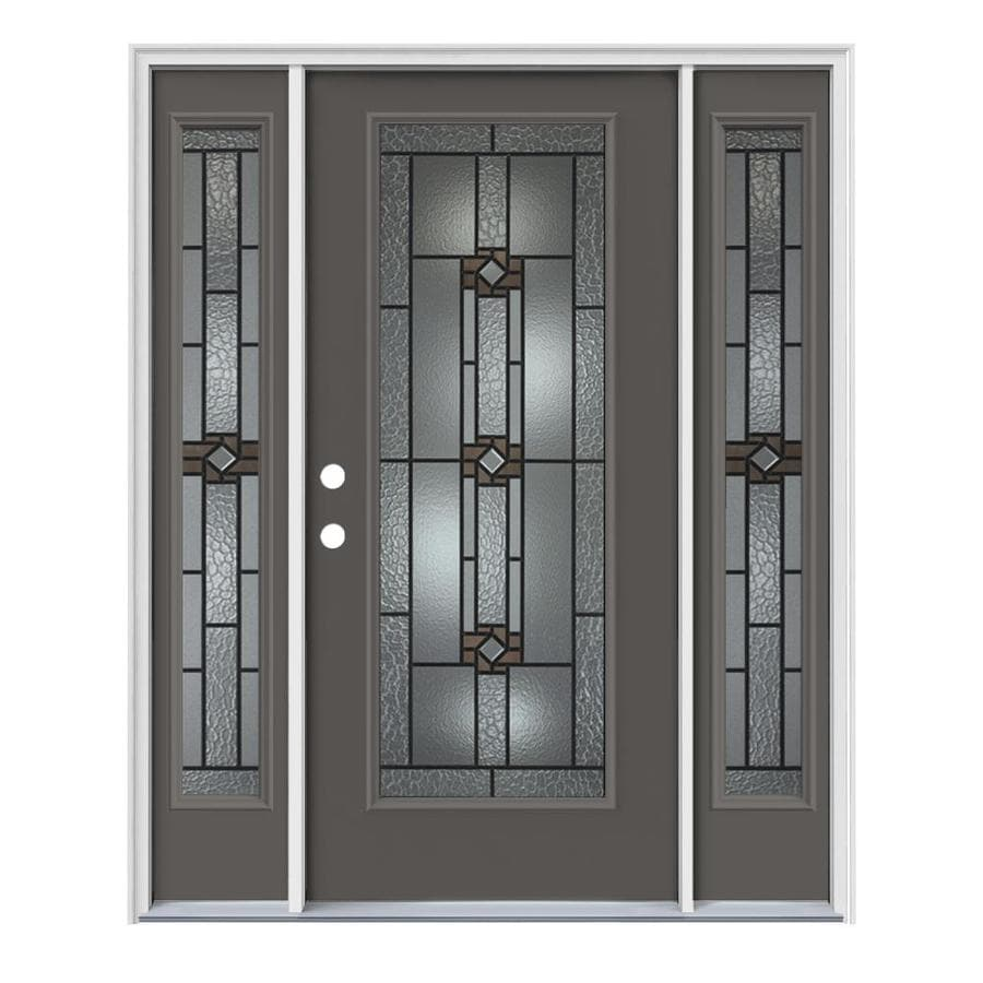 JELD-WEN Sonora Decorative Glass Right-Hand Inswing Timber Gray Painted Steel Prehung Entry Door with Insulating Core (Common: 64-in x 80-in; Actual: 64.5-in x 81.75-in)
