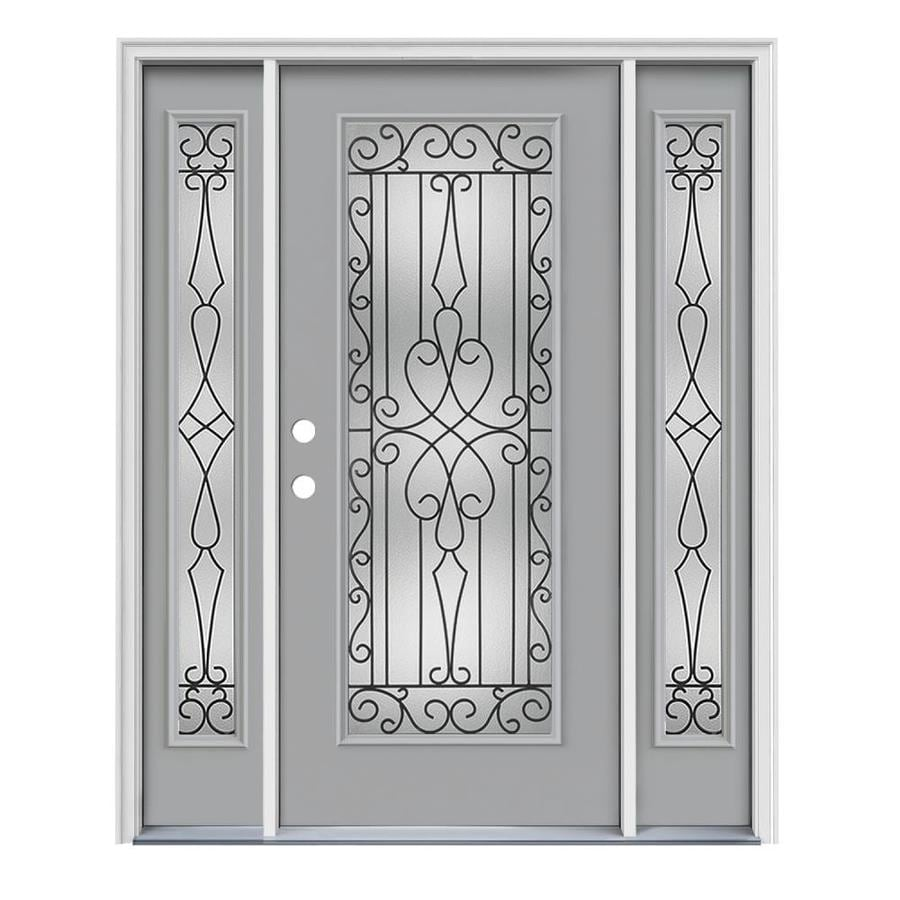 JELD-WEN Wyngate Decorative Glass Right-Hand Inswing Infinity Grey Steel Painted Entry Door (Common: 64-in x 80-in; Actual: 64.5000-in x 81.7500-in)