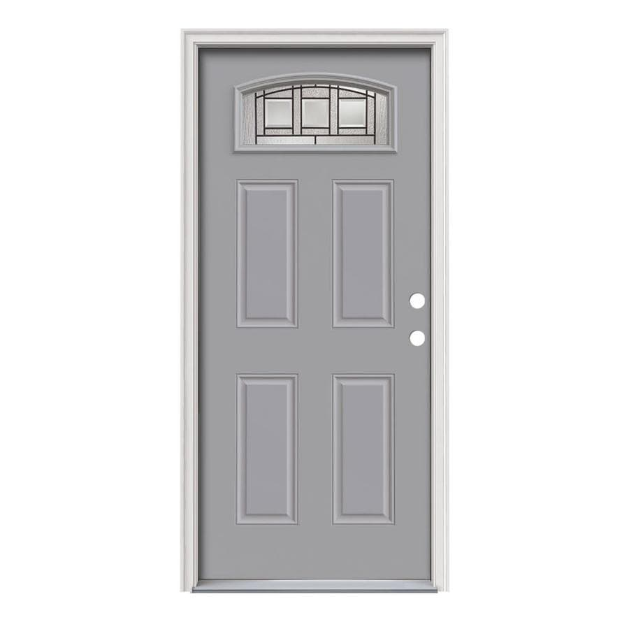 JELD-WEN Craftsman Decorative Glass Left-Hand Inswing Infinity Grey Painted Steel Prehung Entry Door with Insulating Core (Common: 36-in x 80-in; Actual: 37.5-in x 81.75-in)
