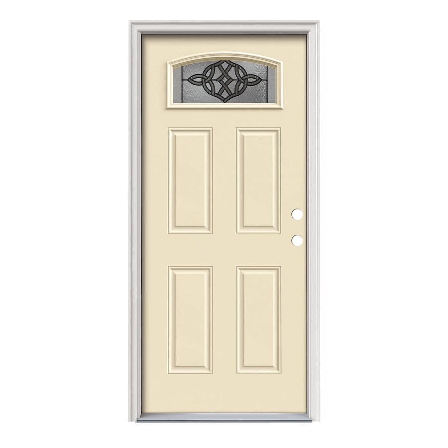JELD-WEN Dylan Decorative Glass Left-Hand Inswing Bisque Steel Painted Entry Door (Common: 36-in x 80-in; Actual: 37.5000-in x 81.7500-in)