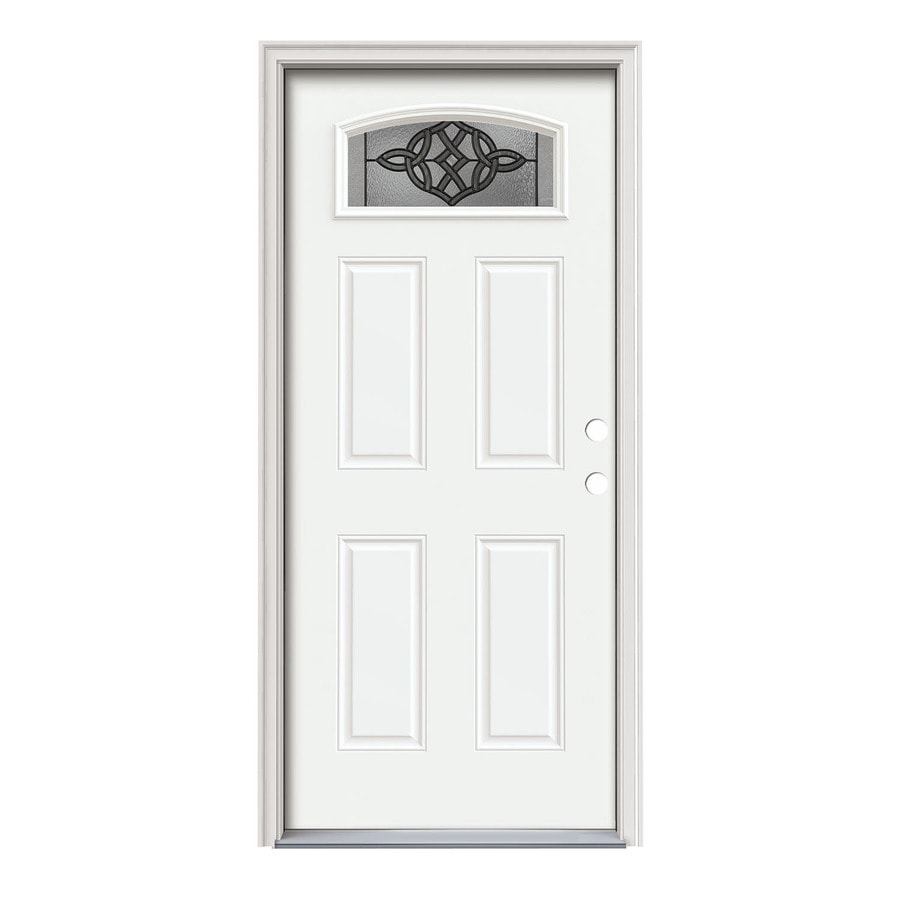 JELD-WEN Dylan Decorative Glass Left-Hand Inswing Modern White Steel Painted Entry Door (Common: 36-in x 80-in; Actual: 37.5000-in x 81.7500-in)