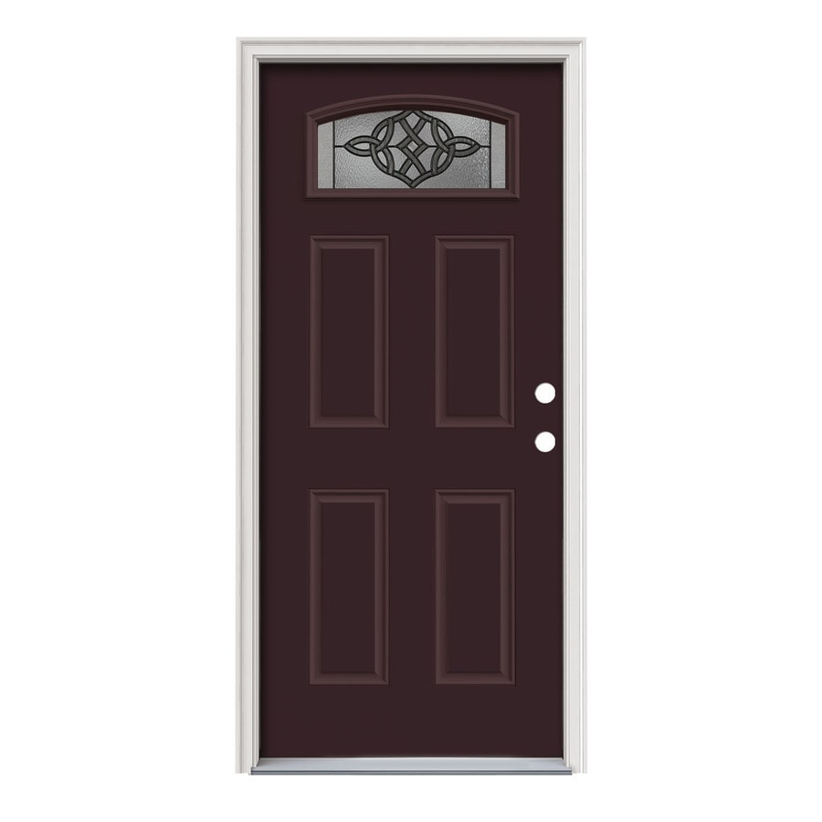 JELD-WEN Dylan Decorative Glass Left-Hand Inswing Currant Painted Steel Prehung Entry Door with Insulating Core (Common: 36-in x 80-in; Actual: 37.5000-in x 81.7500-in)
