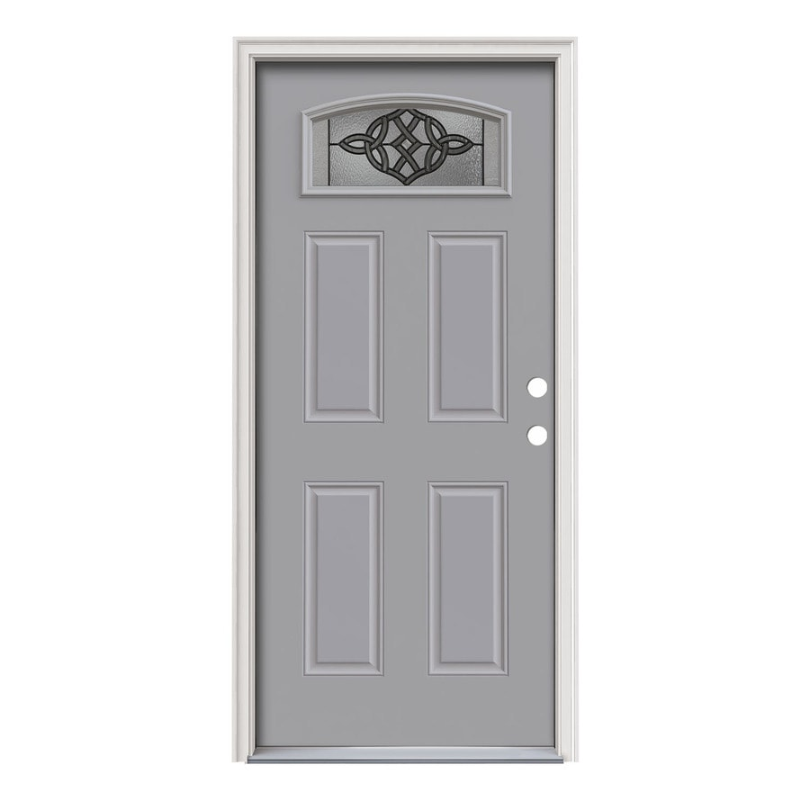 JELD-WEN Dylan Decorative Glass Left-Hand Inswing Infinity Grey Painted Steel Prehung Entry Door with Insulating Core (Common: 36-in x 80-in; Actual: 37.5-in x 81.75-in)
